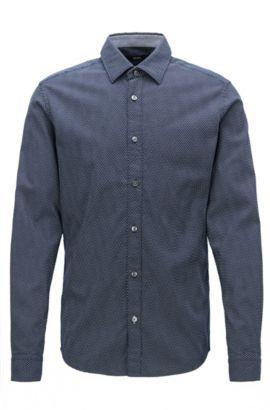 Camicia regular fit in cotone lavorato , Blu scuro