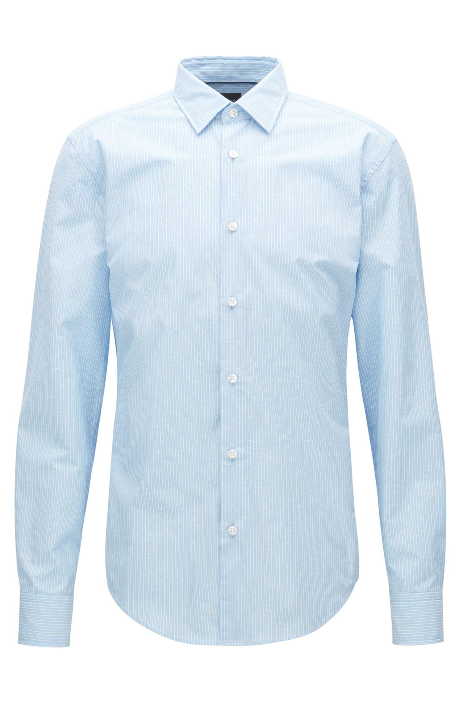 Slim-Fit-Hemd aus Baumwoll-Mix mit Seide