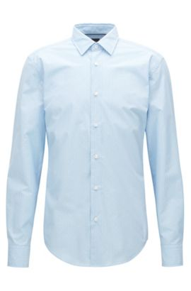 Slim-fit shirt in a cotton blend, Dark Blue