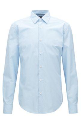 Camicia slim fit in misto cotone, Blu scuro