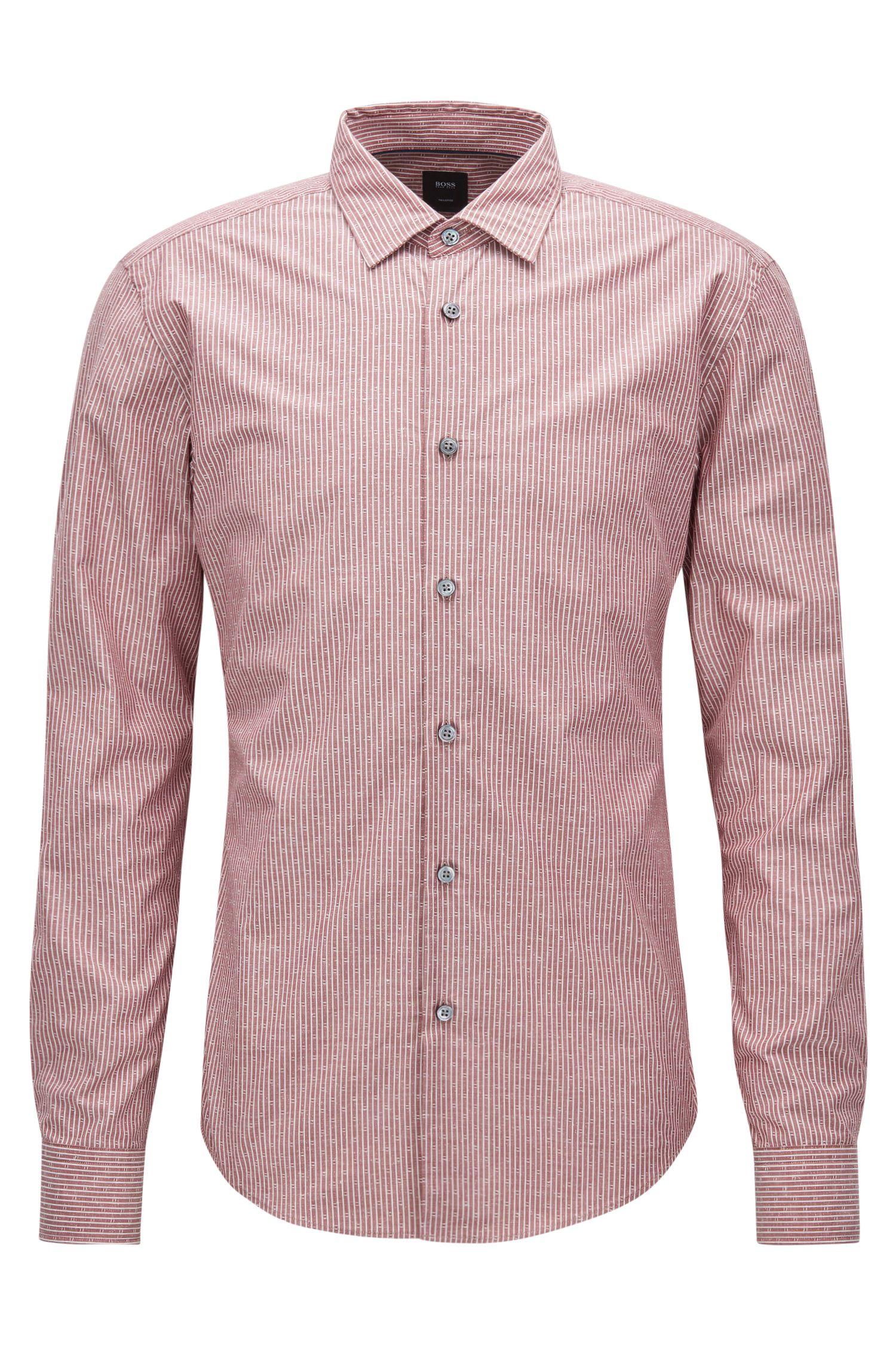 Slim-fit overhemd van een katoenmix