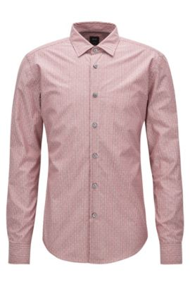 Slim-fit shirt in a cotton blend, Red