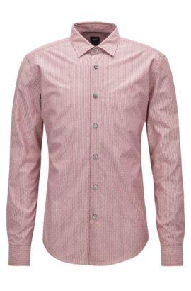 Slim-fit overhemd van een katoenmix, Rood