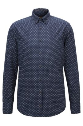 Slim-fit shirt in micro-print cotton, Dark Blue
