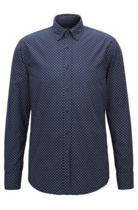 Slim-fit overhemd van katoen met microprint, Donkerblauw