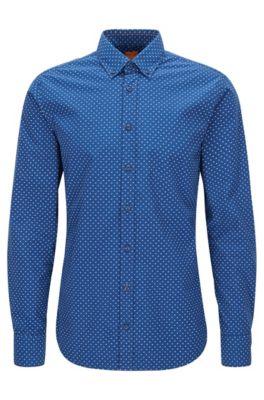 Bedrucktes Slim-Fit Hemd aus Baumwolle, Blau