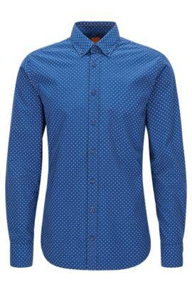 Camicia slim fit in cotone con microstampa, Blu