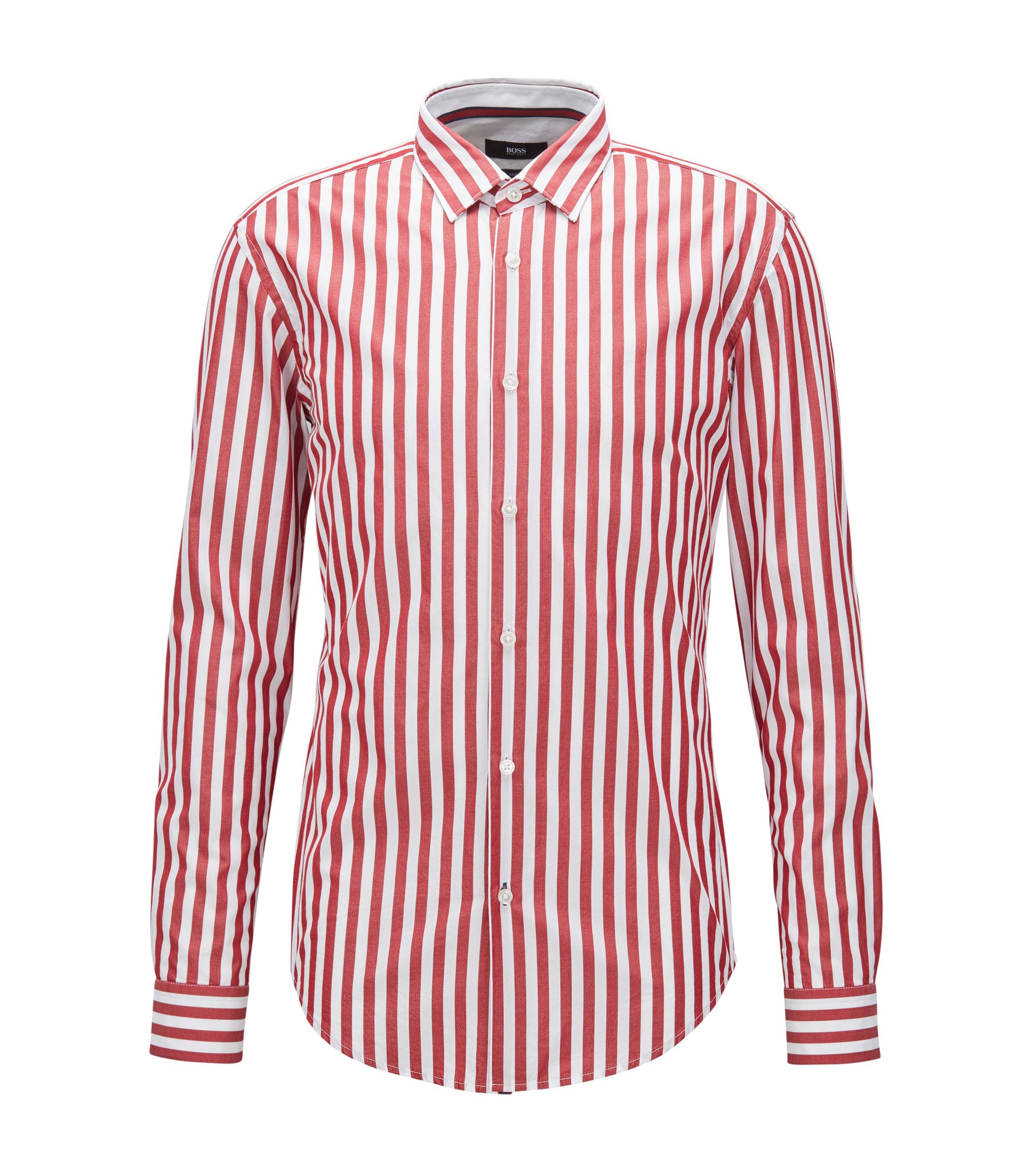 Slim-fit washed cotton shirt in wide stripes, Red