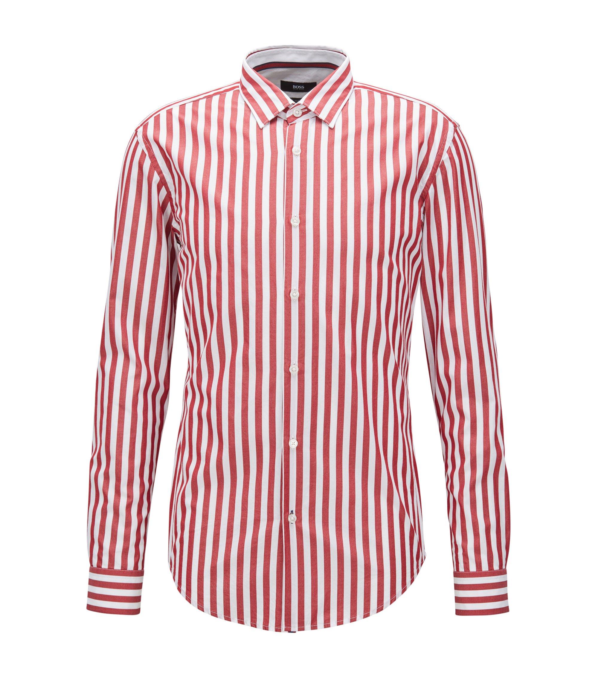 Camicia slim fit in cotone lavato a righe larghe, Rosso