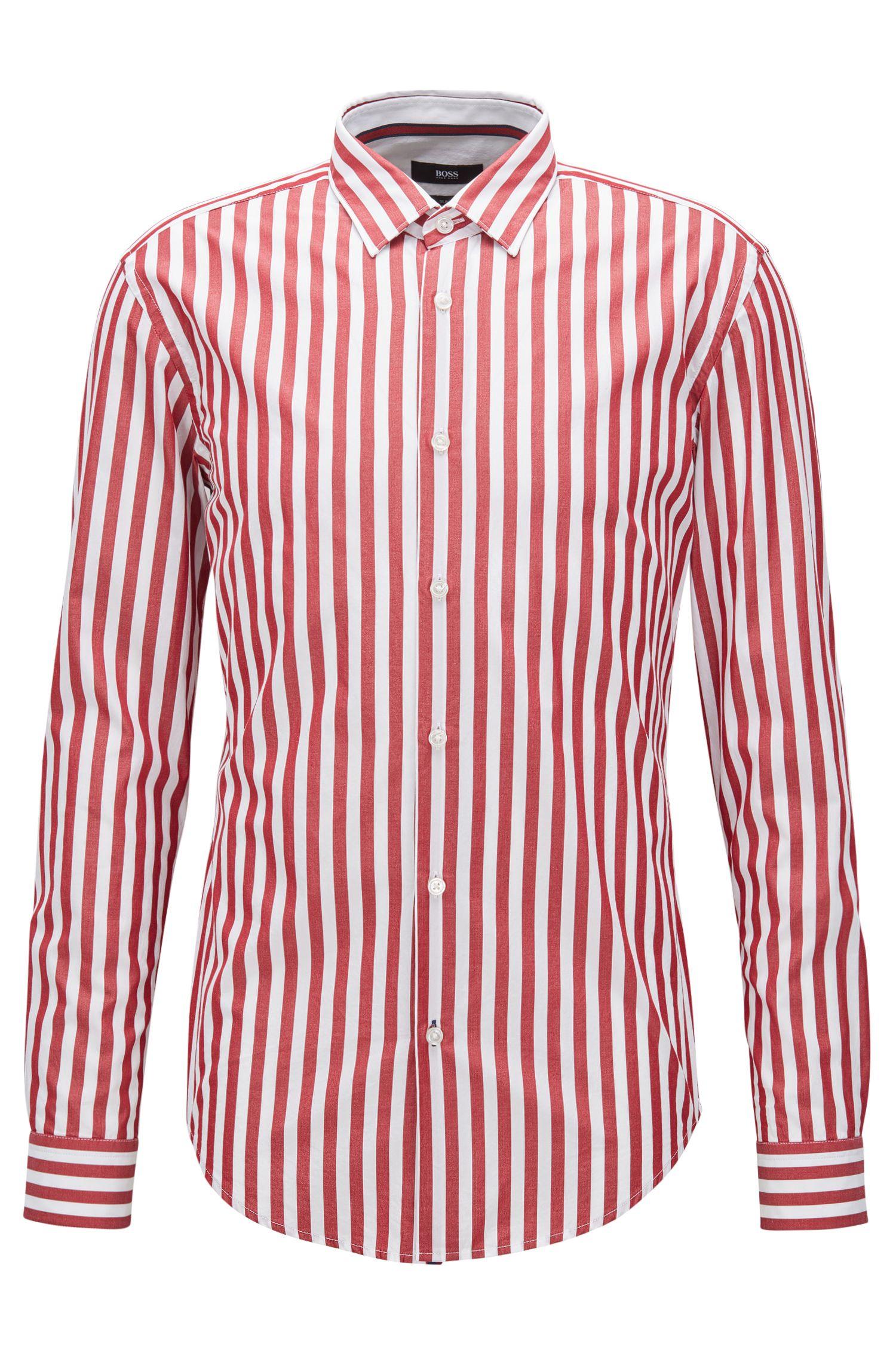 Camisa slim fit en algodón lavado con rayas anchas