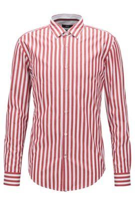 Chemise Slim Fit en coton lavé à larges rayures, Rouge