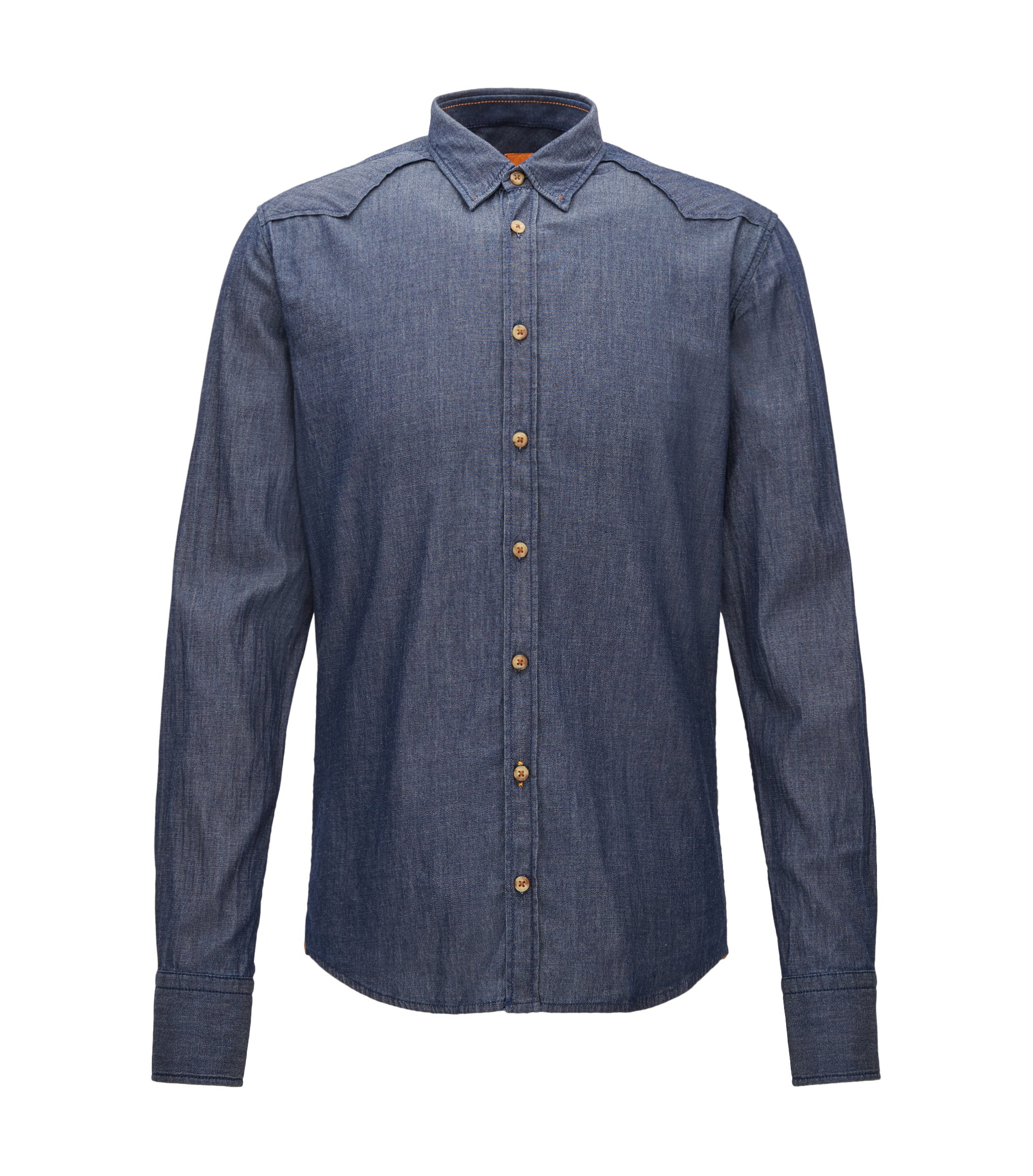 Extra-slim-fit shirt in washed stretch denim, Dark Blue