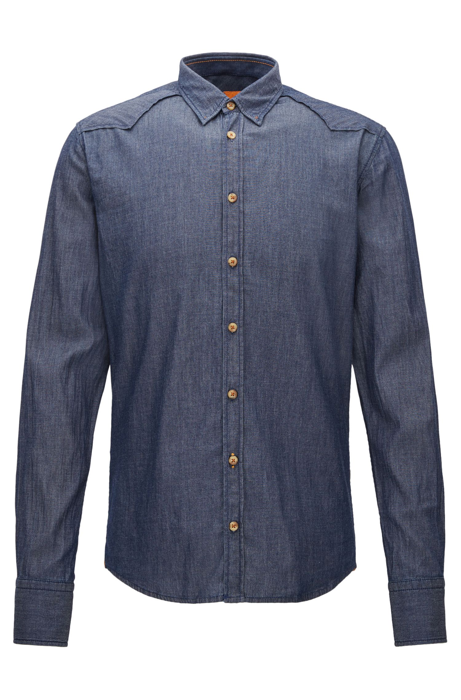 Chemise Extra Slim Fit en denim stretch délavé