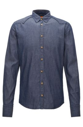 Extra-slim-fit shirt in washed stretch denim, Dark Blue