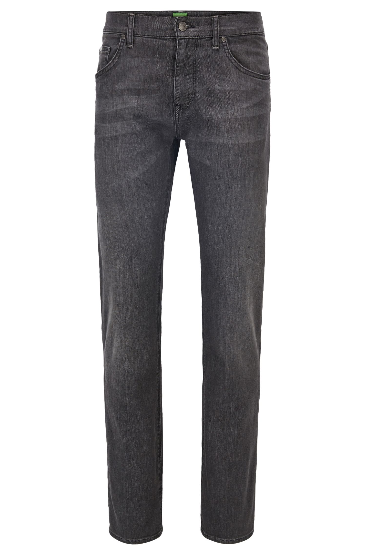 Regular-fit jeans van antraciet stretchdenim