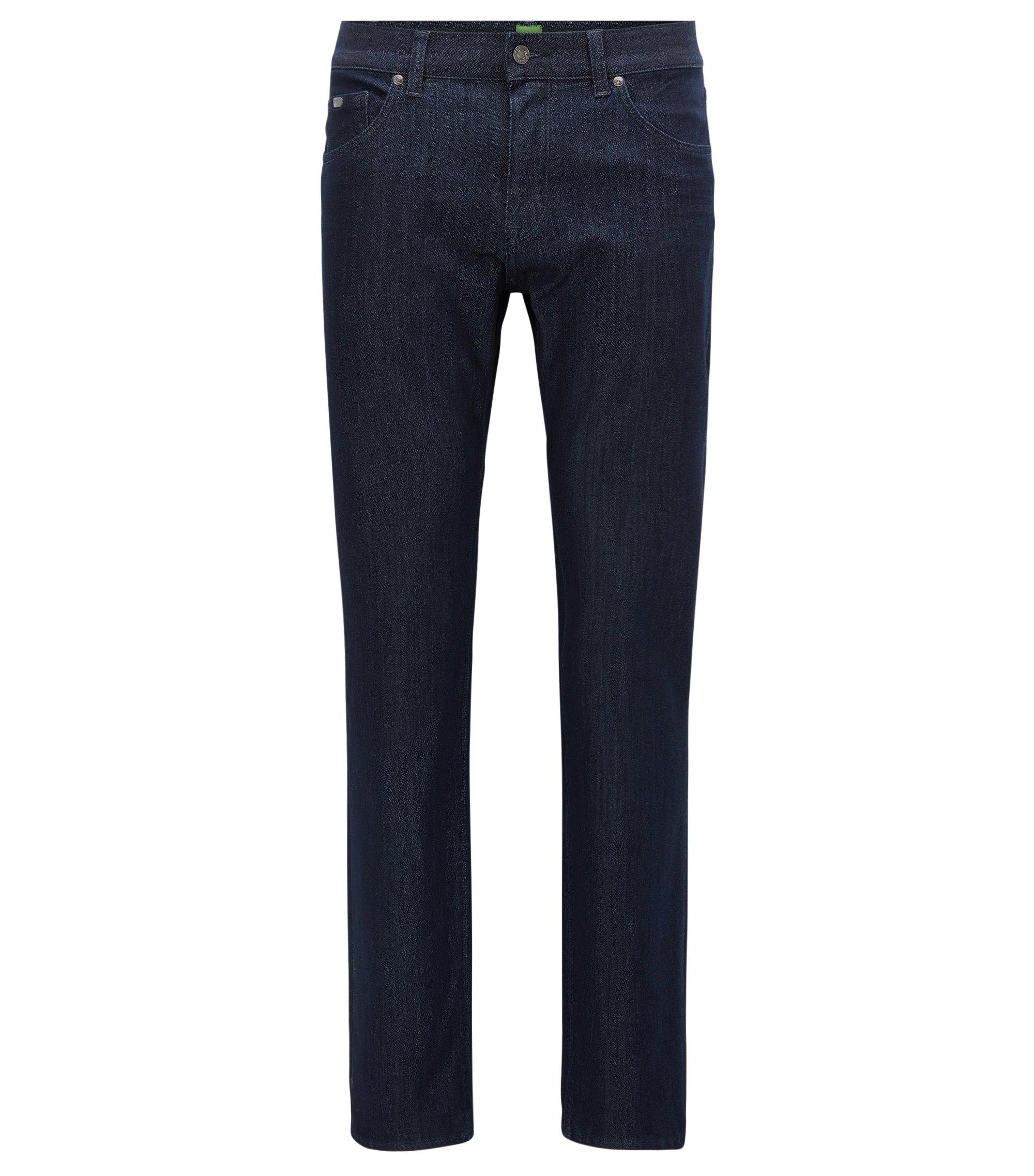 Jeans regular fit realizzati con denim in maglia, Blu scuro