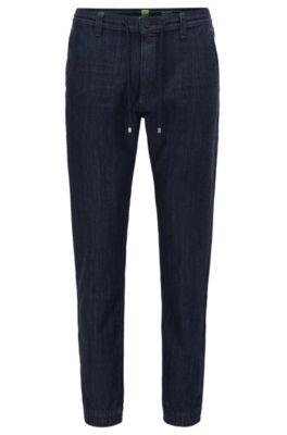 Pantalones tapered fit en denim de punto, Azul oscuro