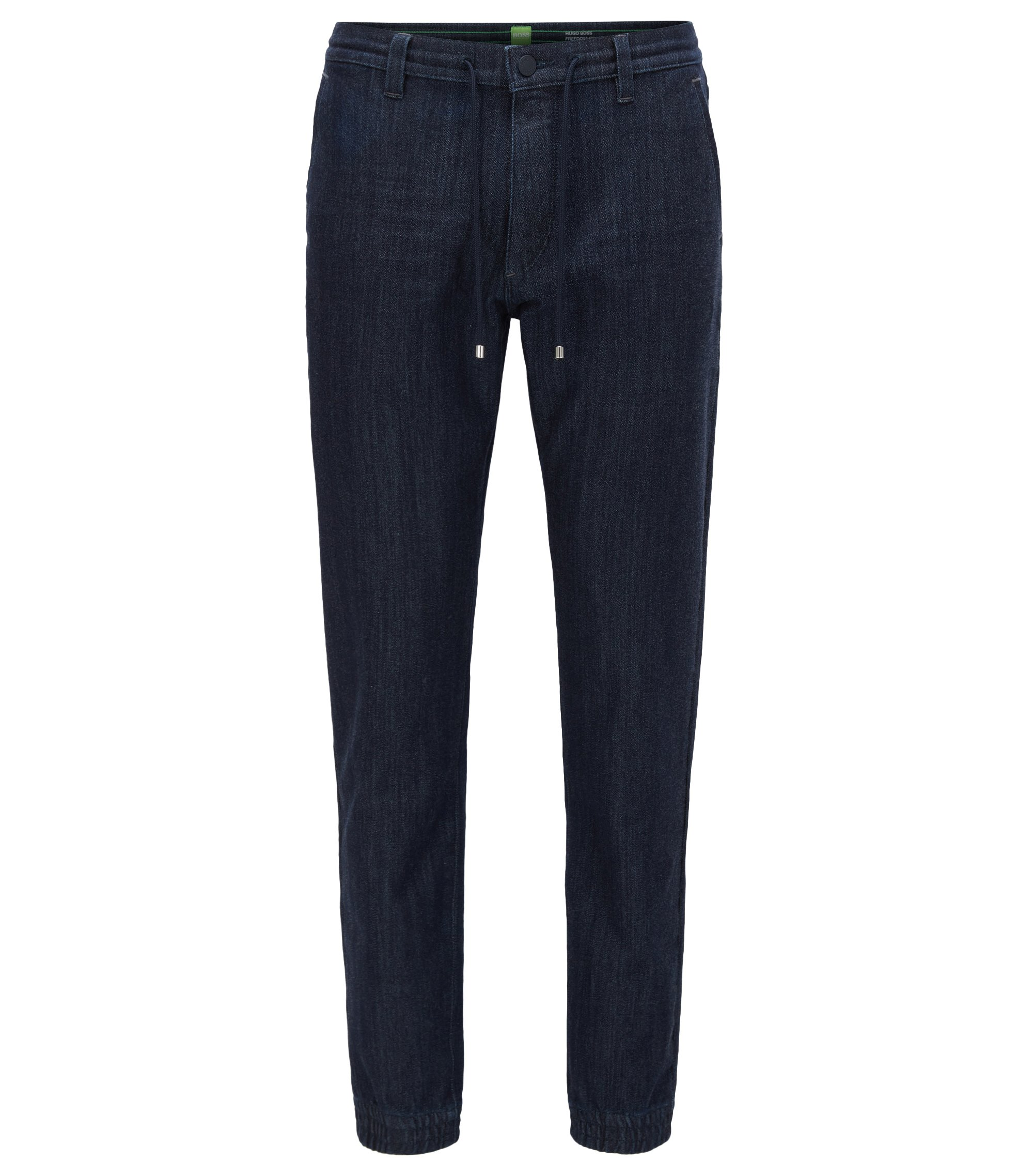 Pantalones tapered fit en denim de punto, Azul oscuro