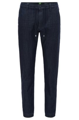 Pantalon Tapered Fit en maille denim, Bleu foncé