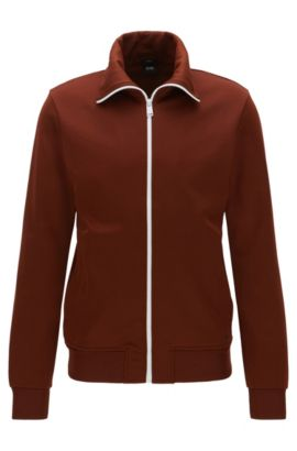Slim-fit jacket in sporty fabric, Brown