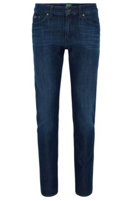 Vaqueros slim fit en denim elástico de color añil, Azul