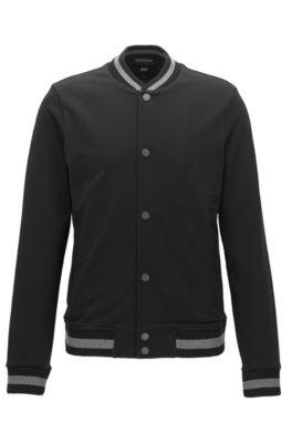 Slim-Fit College-Jacke aus Baumwolle, Schwarz