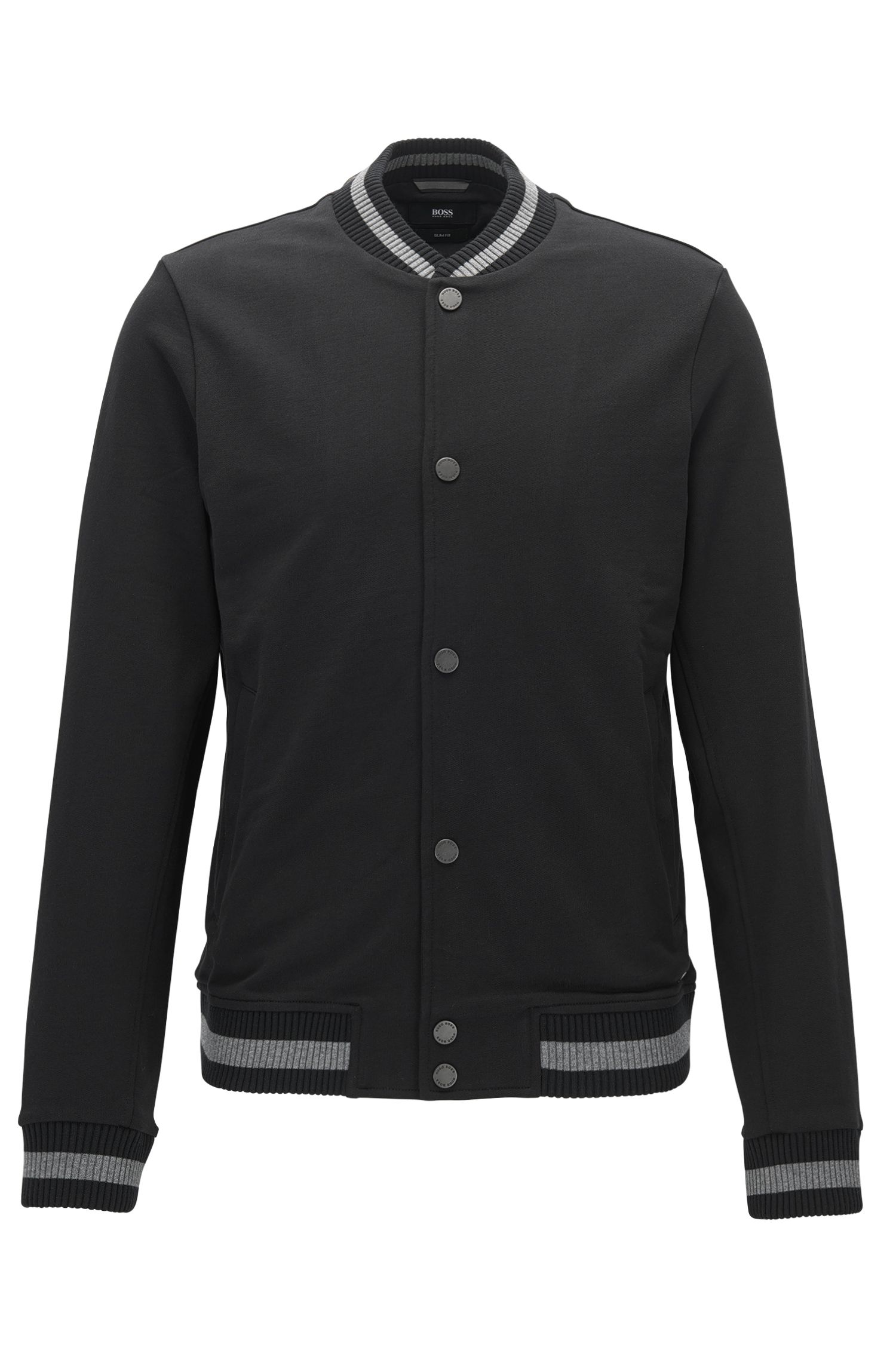 Slim-fit cotton jacket with varsity details