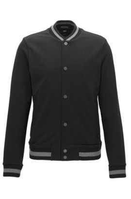 Slim-fit cotton jacket with varsity details, Black