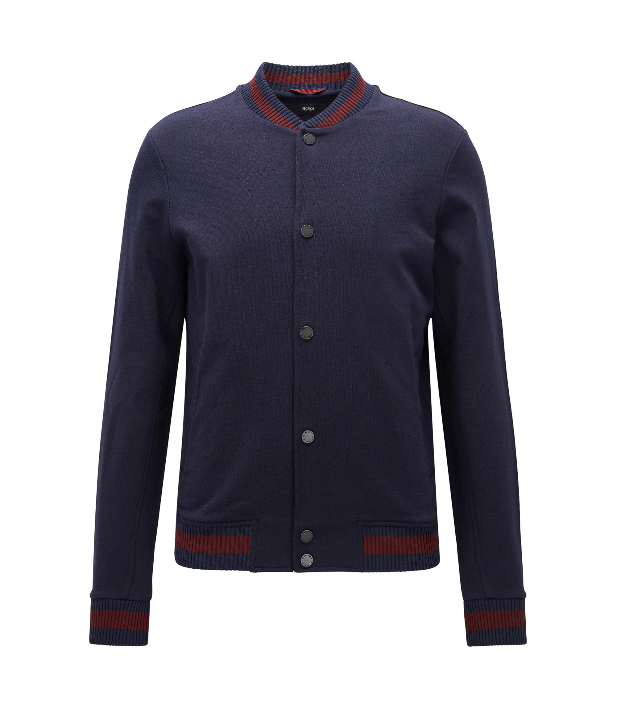 Slim-fit cotton jacket with varsity details, Dark Blue