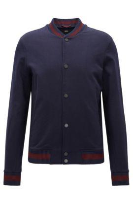Veste en coton Slim Fit à détails Varsity, Bleu foncé