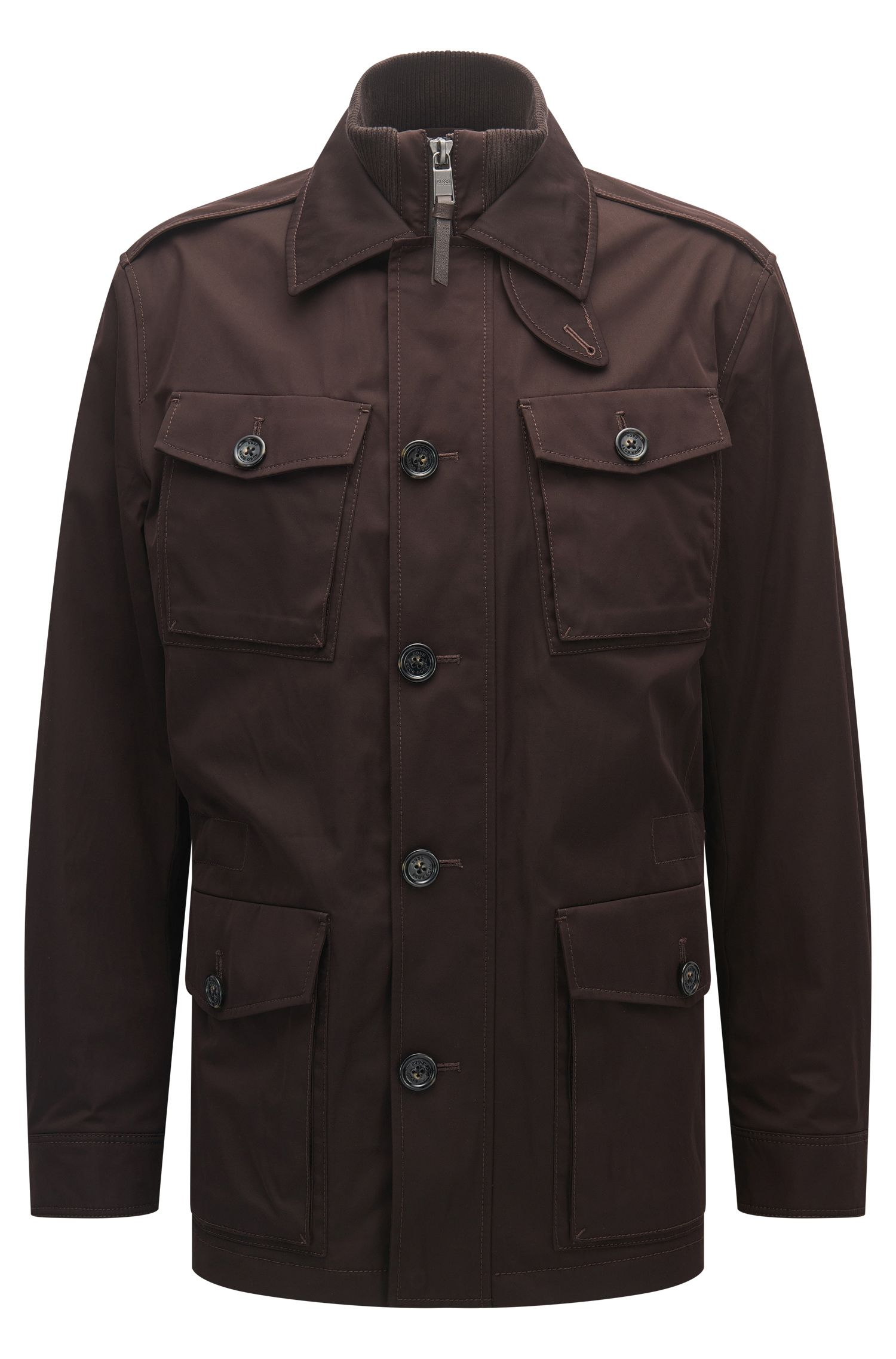Relaxed-fit water-repellent cotton-blend coat