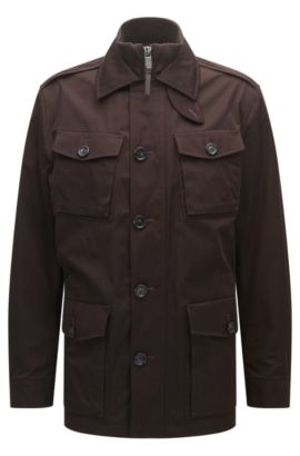 Relaxed-fit water-repellent cotton-blend coat, Dark Brown