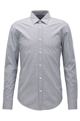 Slim-fit shirt in textured stretch jacquard, Light Grey