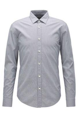 Slim-Fit Hemd aus strukturierter Stretch-Baumwolle, Hellgrau