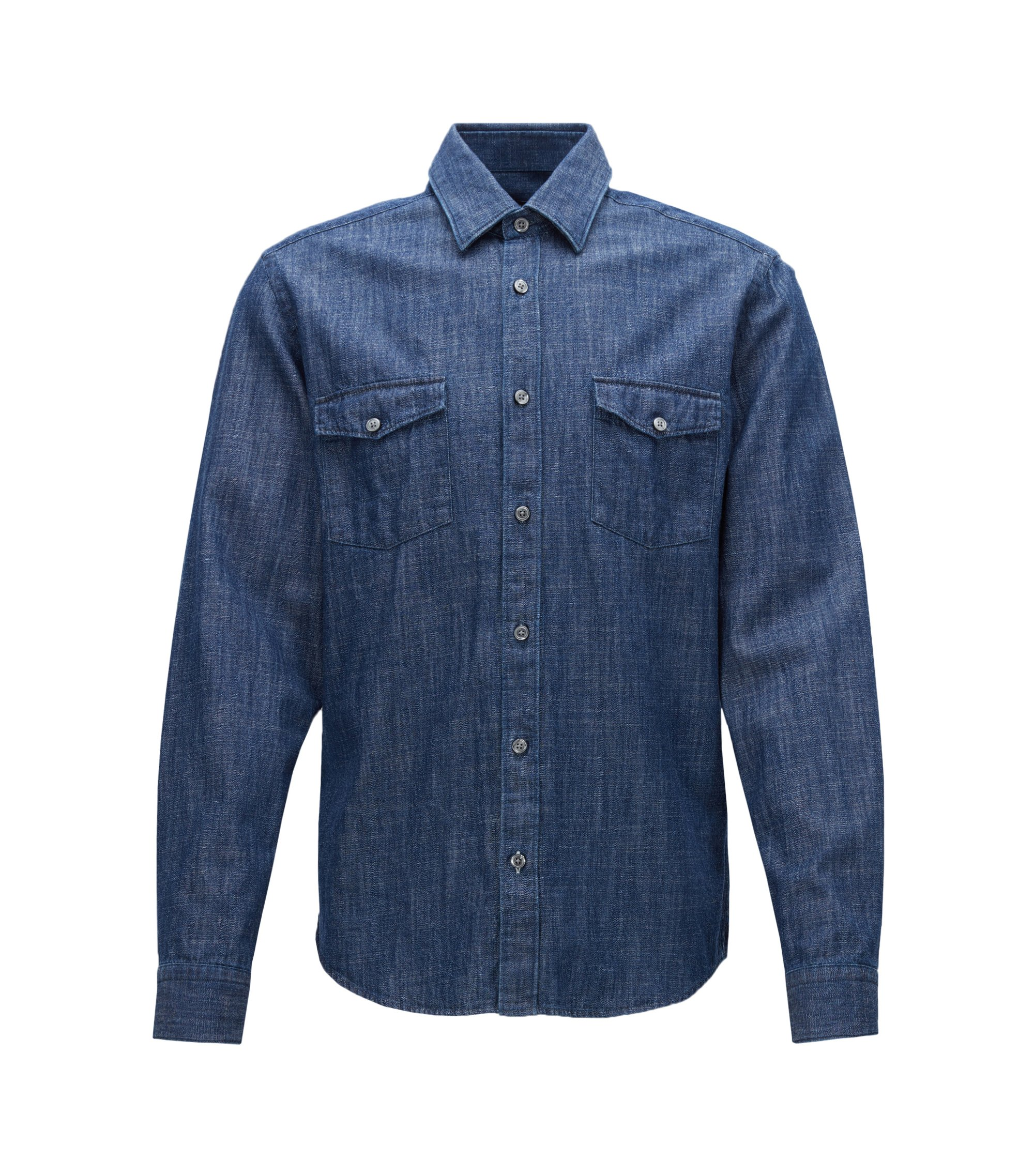 Regular-fit rustic-denim shirt, Dark Blue
