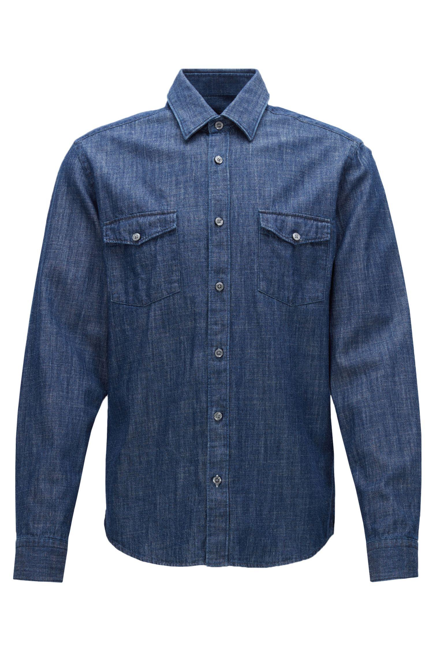 Regular-fit overhemd van rustiek denim