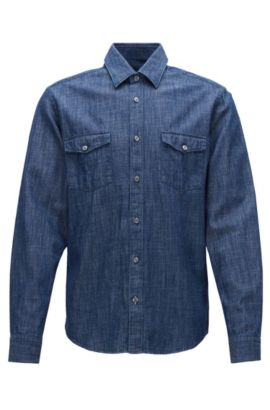 Regular-fit overhemd van rustiek denim, Donkerblauw