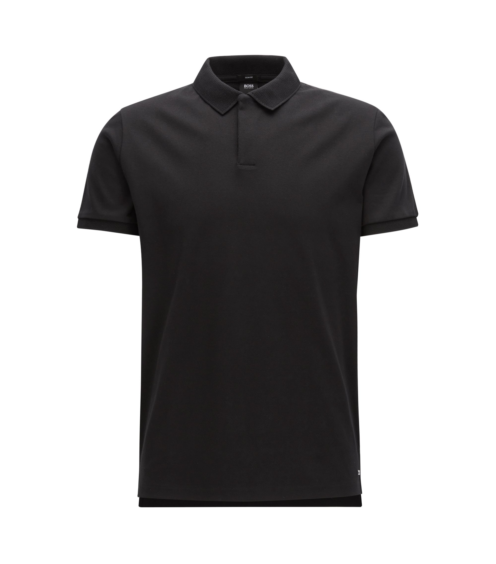 Polo Slim Fit de la collection Mercedes-Benz, en coton interlock, Noir