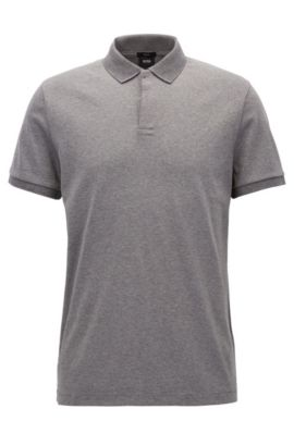 Polo Slim Fit de la collection Mercedes-Benz, en coton interlock, Gris