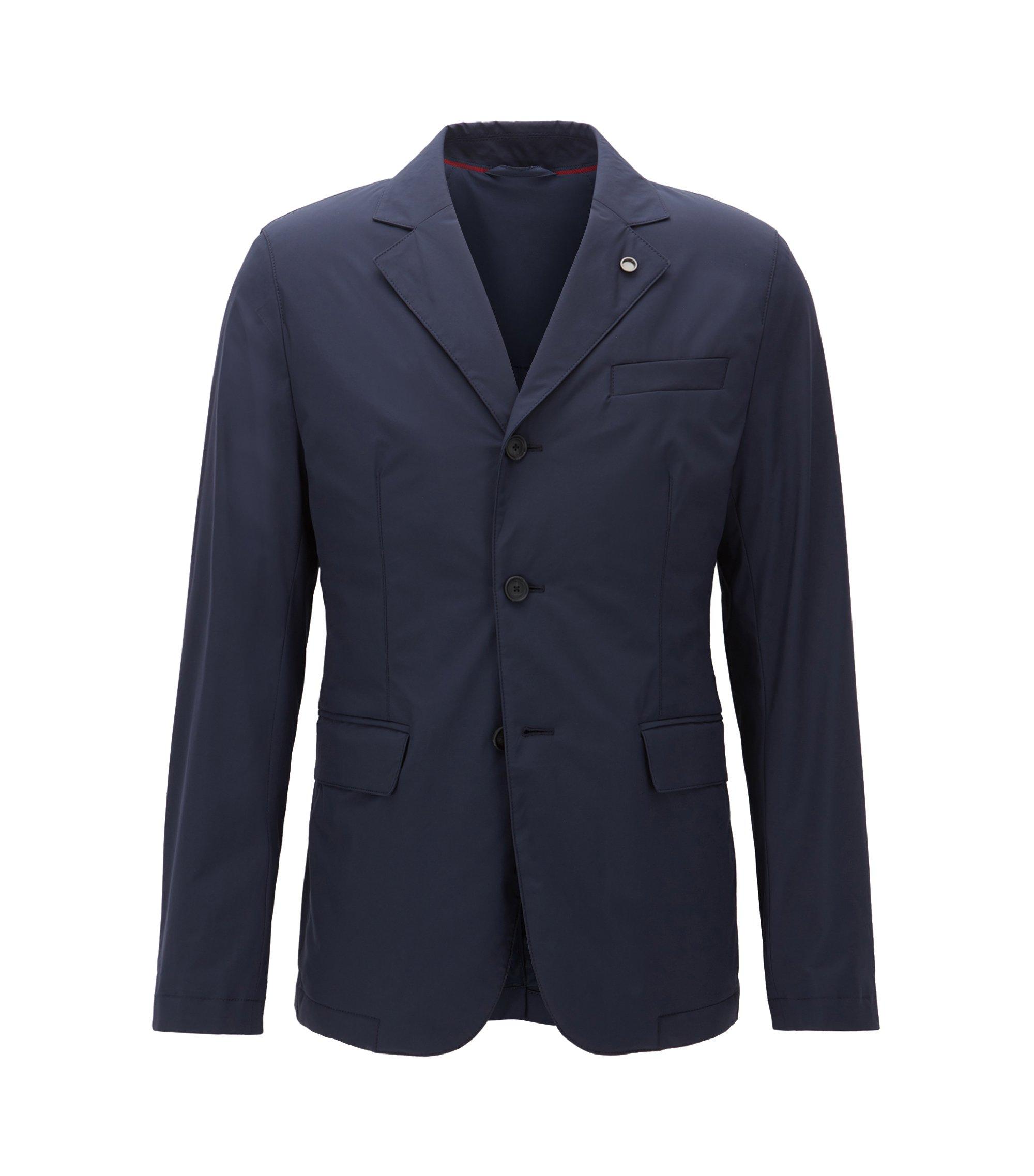 Veste Slim Fit imperméable en tissu technique stretch, Bleu foncé