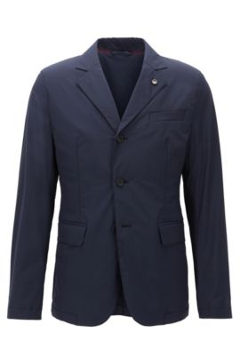 Slim-fit water-repellent jacket in a stretch technical fabric, Dark Blue