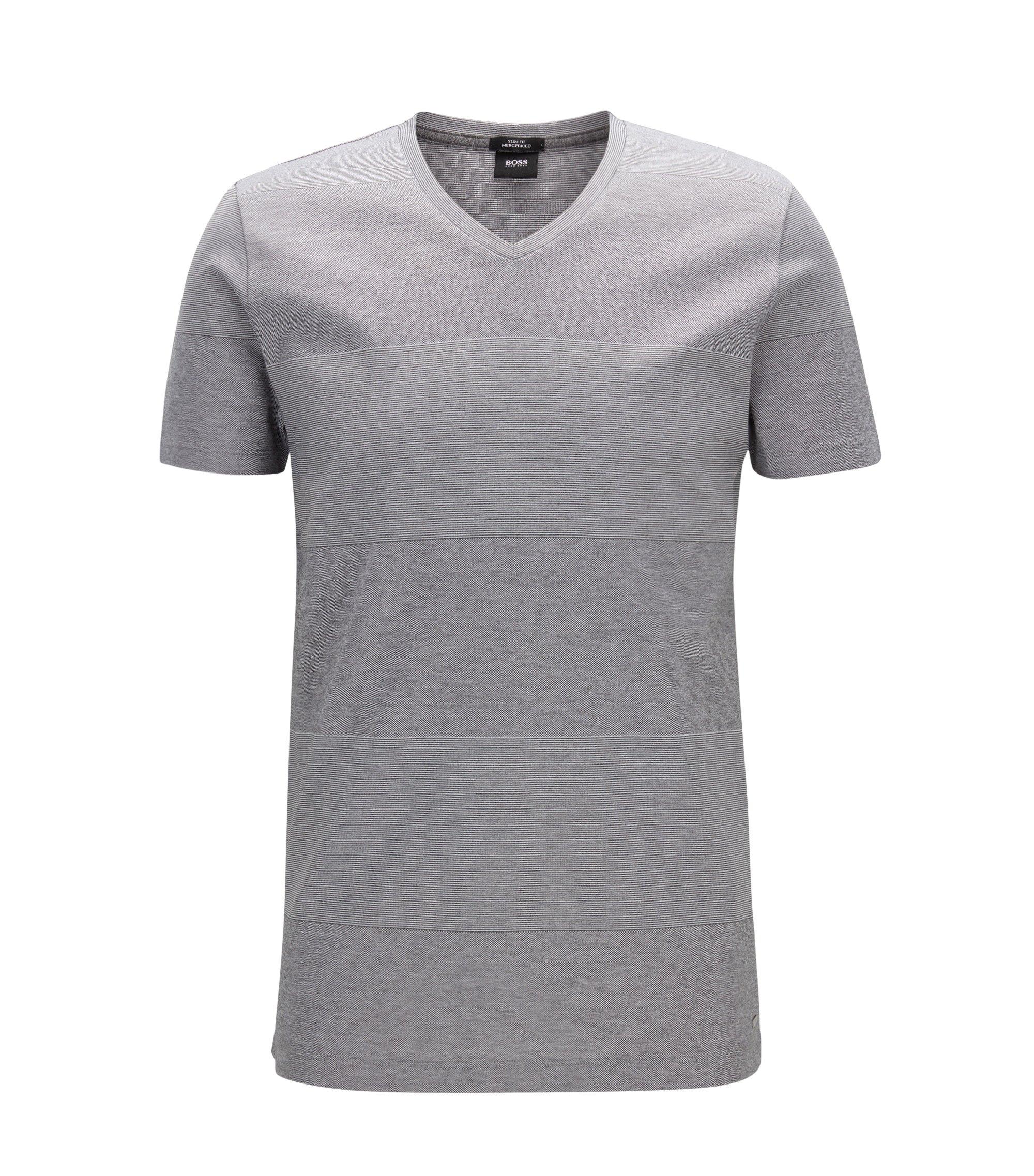 Slim-Fit T-Shirt aus merzerisierter Baumwolle mit Blockstreifen, Grau