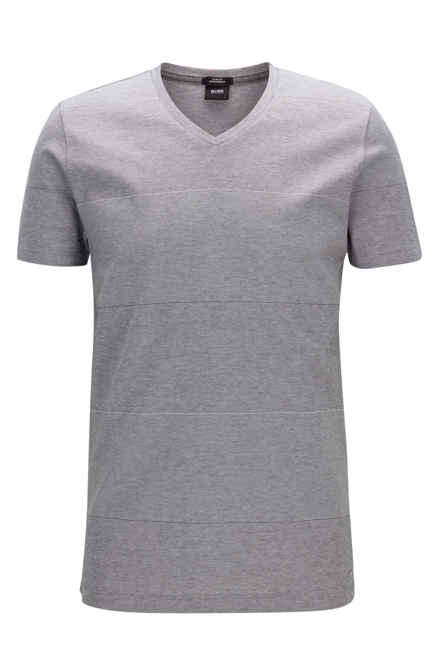 T-shirt slim fit a righe grosse in cotone mercerizzato