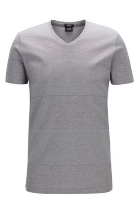 T-shirt Slim Fit à larges rayures en coton mercerisé, Gris