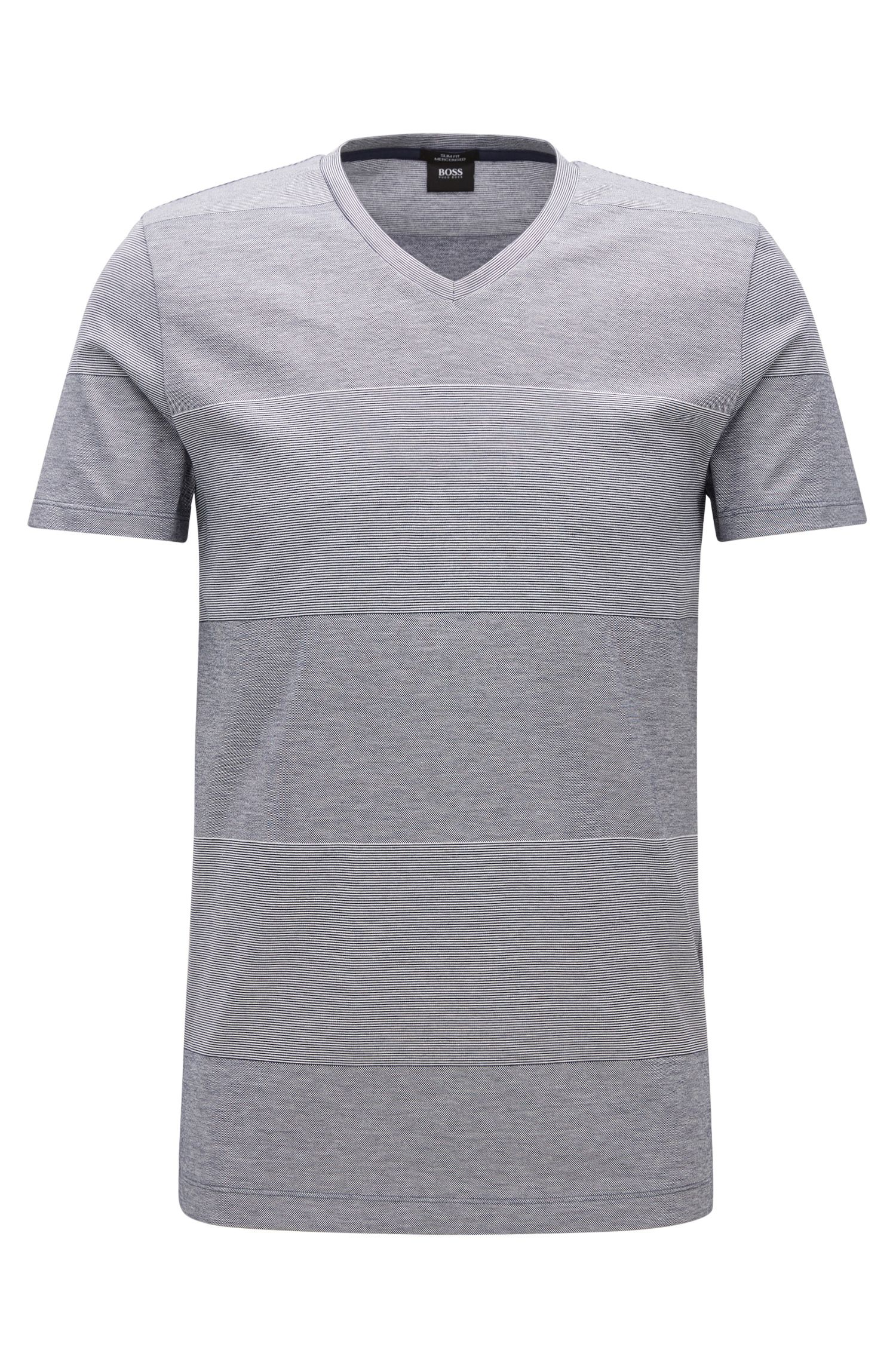 Block striped slim-fit T-shirt in mercerised cotton