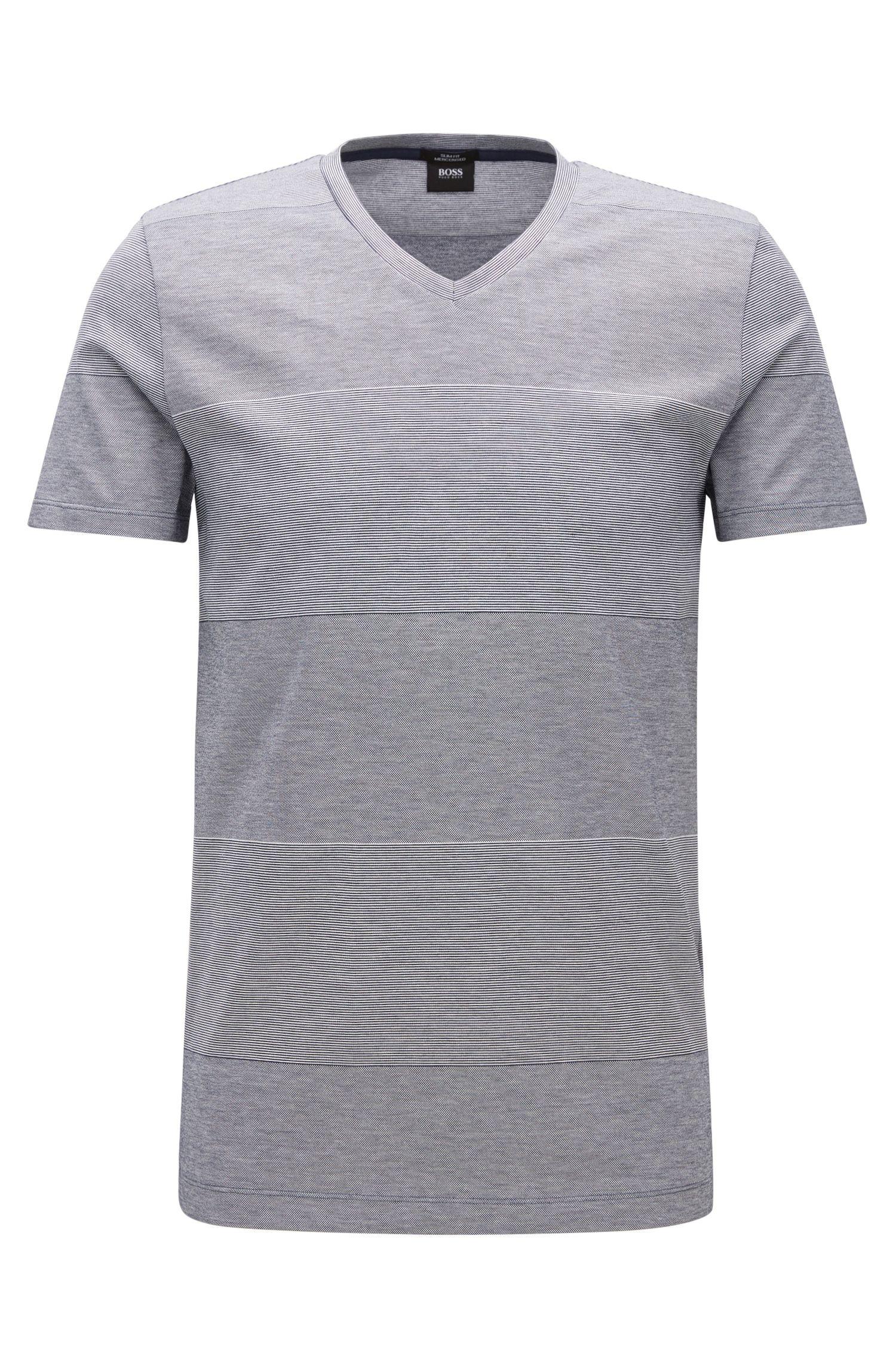 Camiseta slim fit a rayas anchas en algodón mercerizado