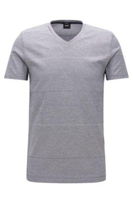 Block striped slim-fit T-shirt in mercerised cotton, Blue