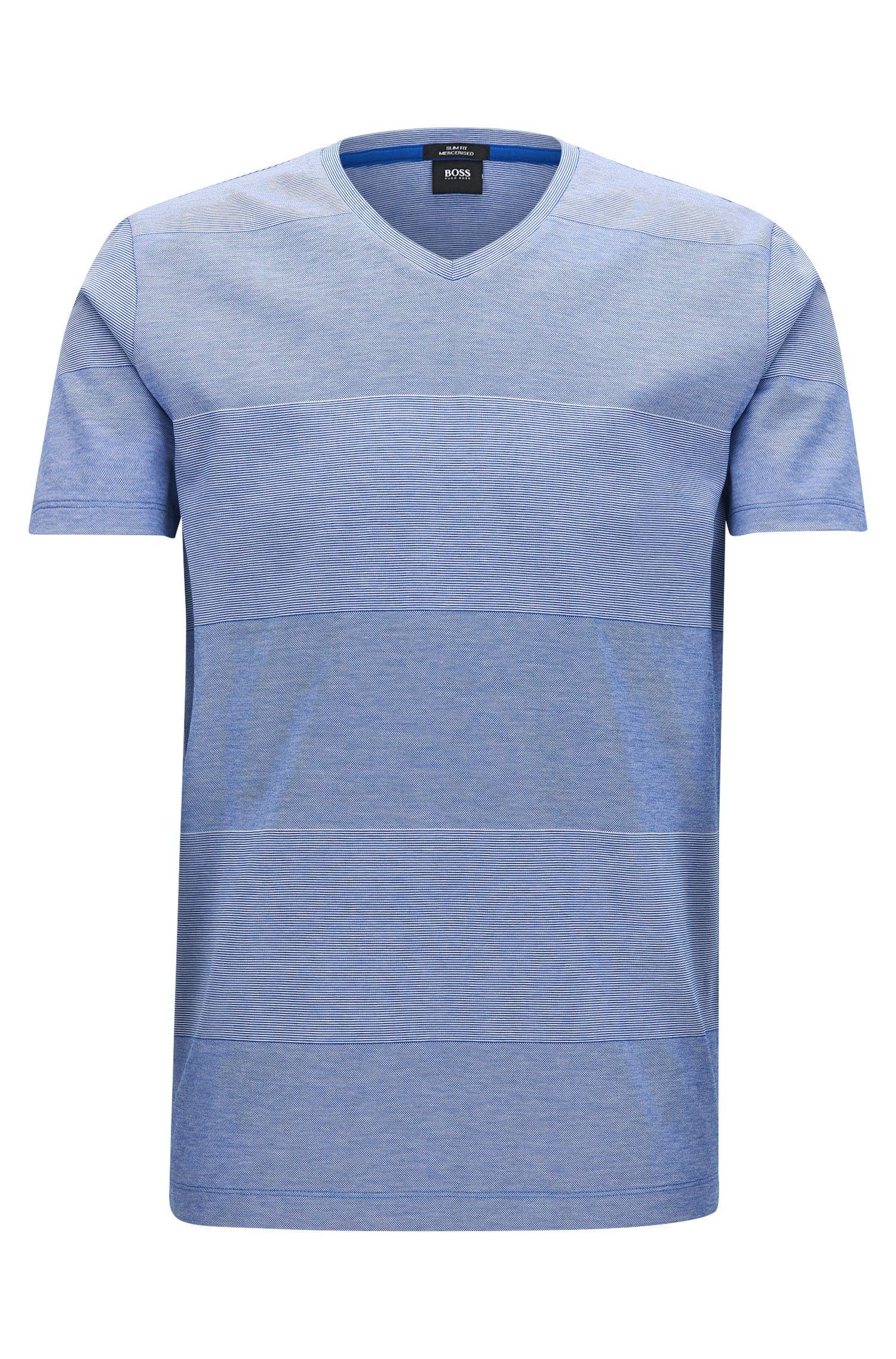 Slim-fit T-shirt van gemerceriseerde katoen met blokstrepen