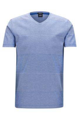 Slim-fit T-shirt van gemerceriseerde katoen met blokstrepen, Lichtblauw