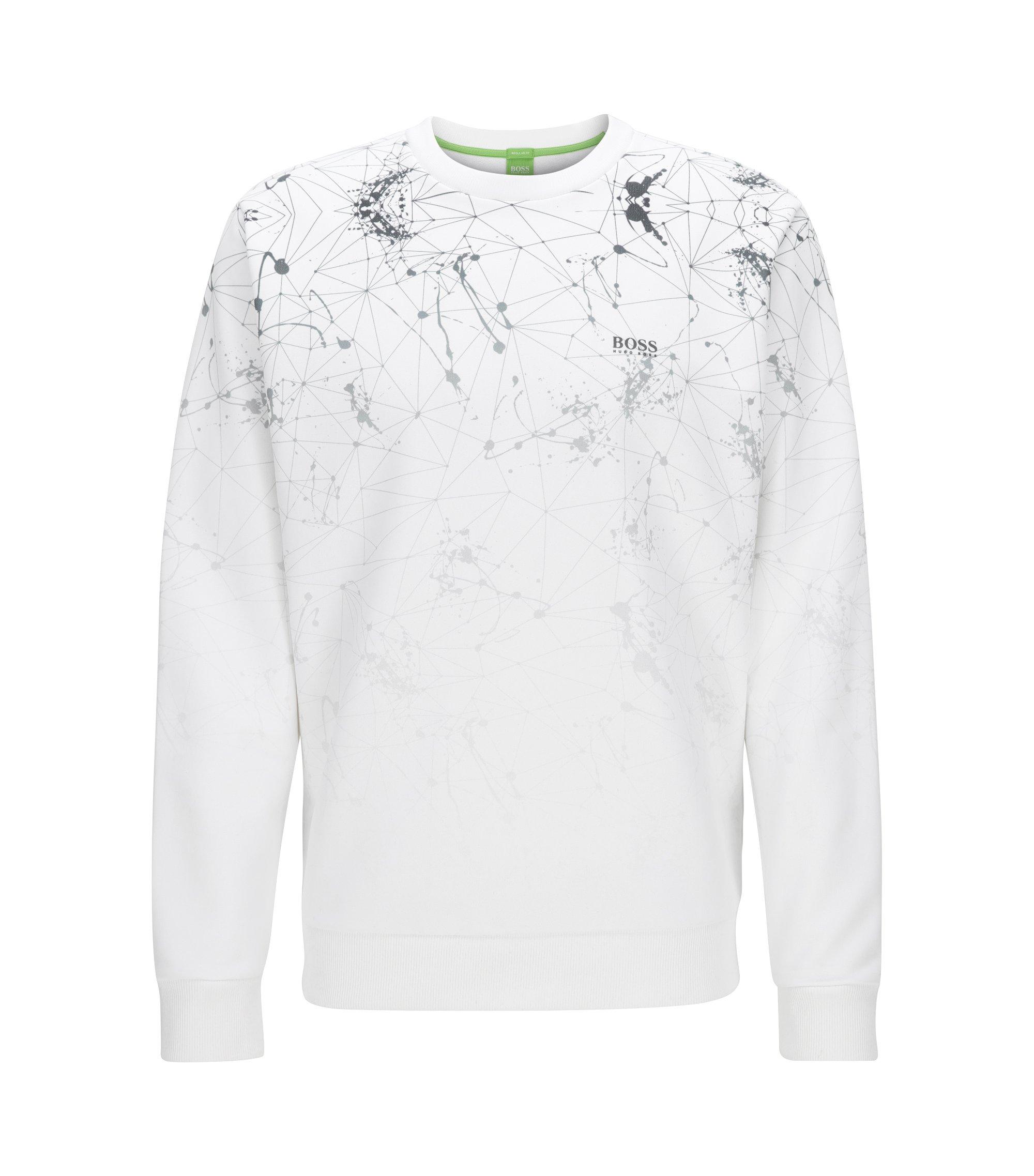 Regular-Fit Rundhals-Pullover aus Material-Mix mit Baumwolle, Weiß